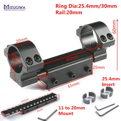 Anillos tácticos duales, 25,4mm/30mm con Pin de parada, 20mm, anillos de montaje flexibles, Picatiiny Dovetail Weaver + soporte de 11mm a 20mm alcance del Rifle