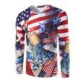 Новый мужской 3D Печатные Футболки Мужчин Случайные футболки Человек Моды ткани С Длинным Рукавом Известный Бренд Флаг США Рубашки