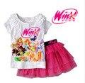 Winx Club 2016 New Girls Clothing Set T Shirt + Skirt Suits Cartoon Kids Set Children's Clothes Kids Suits 2Pcs/set Fille