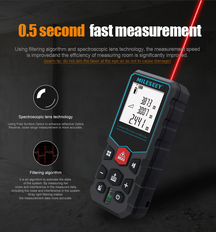 MiLESEEY Laser Distance Meter with Auto Laser Off and for Volume and Area Measurement 3