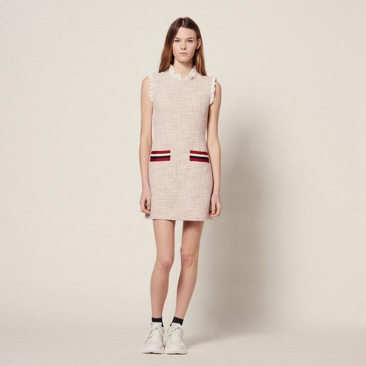 여성 드레스 2019 봄과 여름 새로운 슬림 민소매 주름 장식 드레스-에서드레스부터 여성 의류 의  그룹 1
