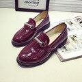 Женская Обувь Лакированная Кожа Оксфорд Цепи Обувь Для Женщин Квартиры Обувь Slip-On Женщины Мокасины Балетки Zapatos Mujer 2016 Новый