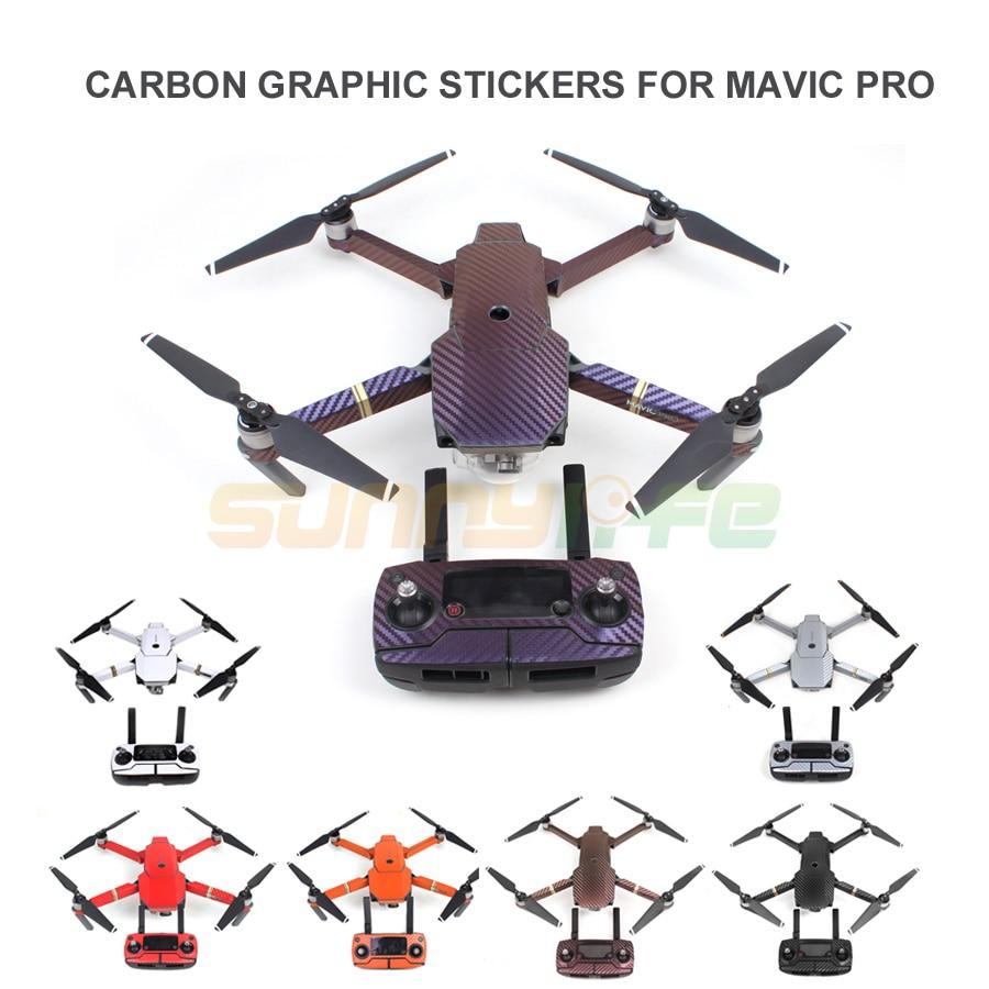 Aparatele decorative din carbon autoadezive din piele pentru piele Full Drink Body + telecomanda + baterii suplimentare Stickers pentru DJI MAVIC PRO Drone