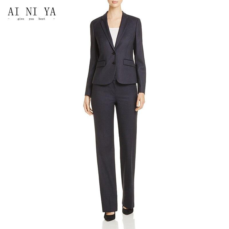 Jacket+Pants Women Business Suits Peak Lapel Two Buttons Slim Fit Female Trouser Suits Ladies Office Uniform Work 2 Piece Suits