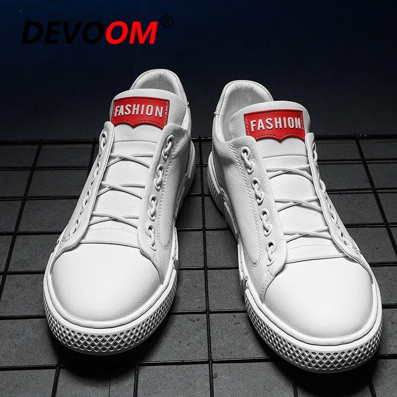 2019 Nouveaux Hommes Baskets décontracté Chaussures En Cuir Hommes Chaussures De Marque De Luxe En Cuir Blanc Baskets Mode à lacets Chaussures Plates