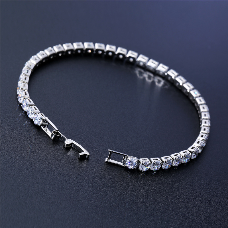 Luxury 4mm Cubic Zirconia Tennis Bracelets Iced Out Chain Crystal Wedding Bracelet For Women Men Gold Silver Color Bracelet