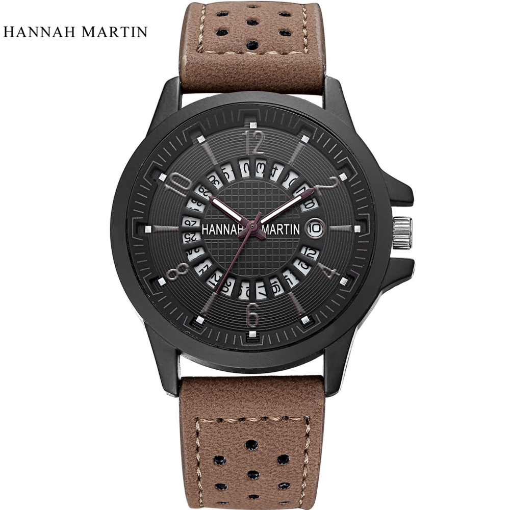 2017 Famous Brand Hannah Martin Watch Men Sport Wristwatch Luxury Genuine Leather Relogio Masculino Fashion Waterproof