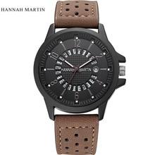 2019 Famous Brand Hannah Martin Watch Men Sport Wristwatch Luxury Genuine Leather Relogio Masculino Fashion Waterproof Watch Men