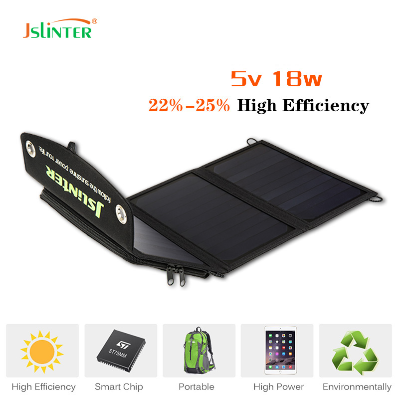 Jslinter New 5V 18W Foldable Outdoor Solar Charger With SunPower Solar Panels Dual USB Ports for Power bank and The Mobile Phone 5500mah solar charger 5v 0 8w beetle shaped phone mobile power bank