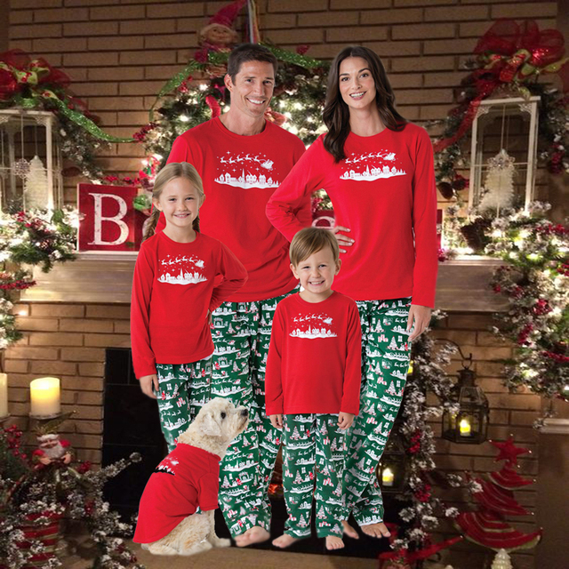 Matching Christmas family pajamas new year family look mother father baby  pyjama set sleepwear pjs xmas sled adult kids clothes 3810191a9