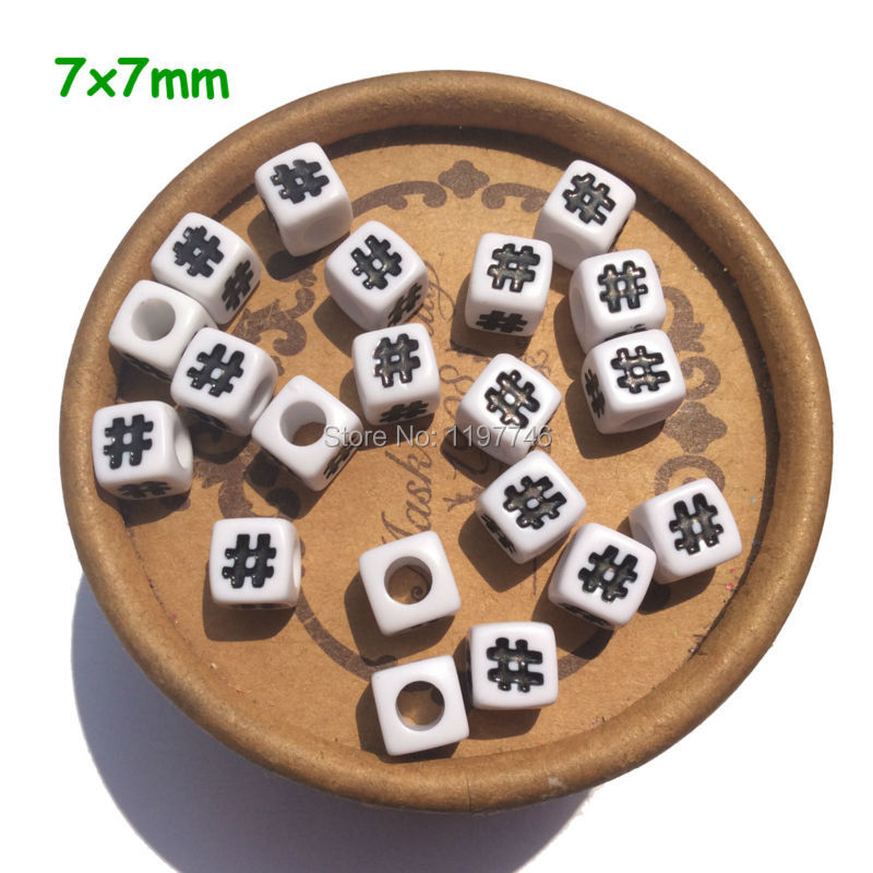 White with Black Letters Chunky Acrylic Cube Letter Symbol Beads With Big Hole For DIY Necklace Jewelry Making New 7 7mm 100pcs in Charms from Jewelry Accessories