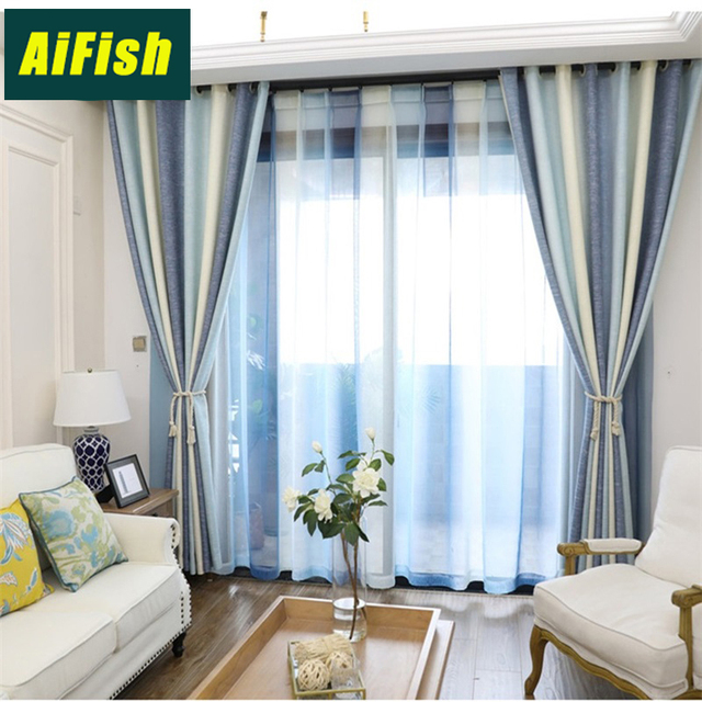 Color Stripes Shade Curtains For Living Room Bedroom Kitchen Tulle Set Custom Mediterranean Style Home Decor Wp10940