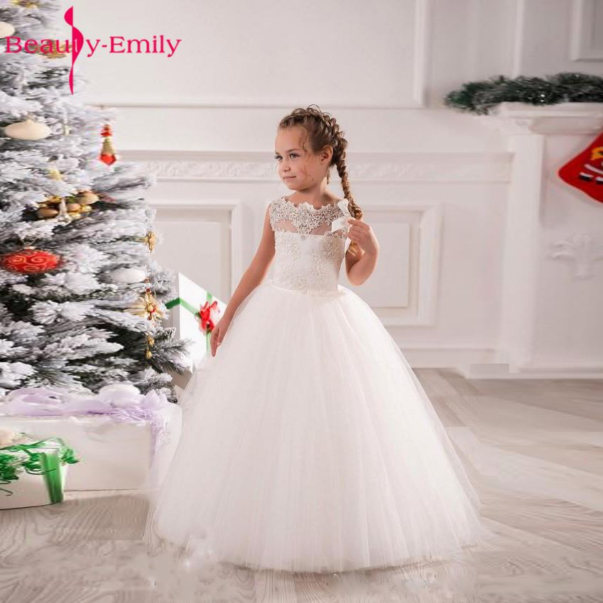 Beauty-Emily Lace White   Flower     Girl     Dresses   2017 Appliques Sleeveless Long Neck   Girls   Pageant   Dress   For Weddings Casamento