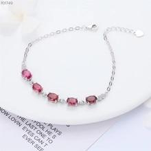 jewelry factory wholesale 925 sterling silver natural red tourmaline adjustable  gemstone bracelet for women chic rhinestone faux gemstone bracelet for women