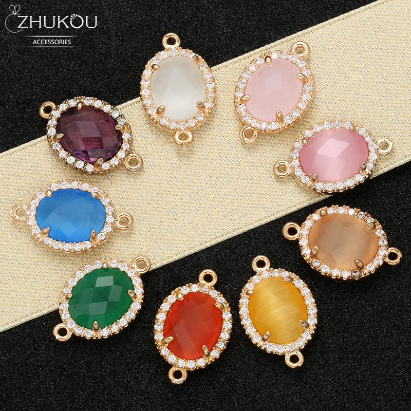 ZHUKOU New 12x18mm Crystal Connectors Accessories For Earrings Jewelry Making Oval Jewelry Findings For Decoration Model:VS335