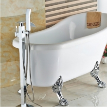 Modern  Free Standing Bathroom Bathtub Faucet + Handheld Shower Chrome Finish Single Handle Tub Mixer Taps