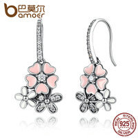 BAMOER 100 925 Sterling Silver Pink Flower Poetic Daisy Cherry Blossom Drop Earrings With Pearl Back