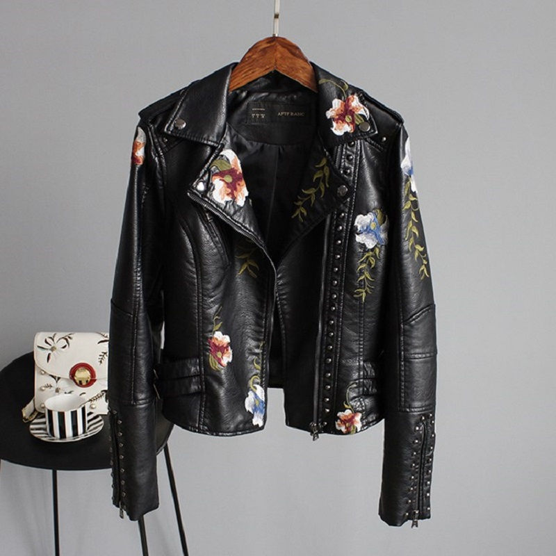 2018 Top Brand Women Jackets Floral Print Embroidery Soft Leather Female Jacket Coat Casual PU Motorcycle Punk Outerwear