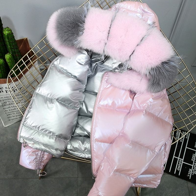 Natural Fur 2019 New Women Down Coat Double-sided Wear Bright Face Down Jacket Women Female Short Real Fur Coat Ladies Clothing