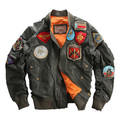 MA1 Men's Leather Jacket Embroidery Baseball Clothing  Sheepskin Coat  MA-1 Pilot jacket Avirexfly