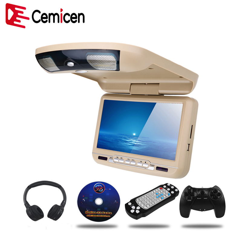 Cemicen 9 tums bilmontering Flip Down Monitor LED Digital skärm DVD-spelare IR FM-sändare USB SD MP5 Support 32 bitar spel