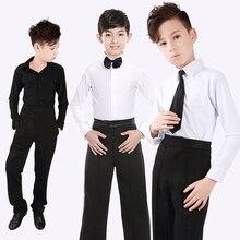 Camisa de baile Latino profesional para hombre y niño, disfraz de competición, baile Rumba y Samba, camiseta Latina negra y blanca