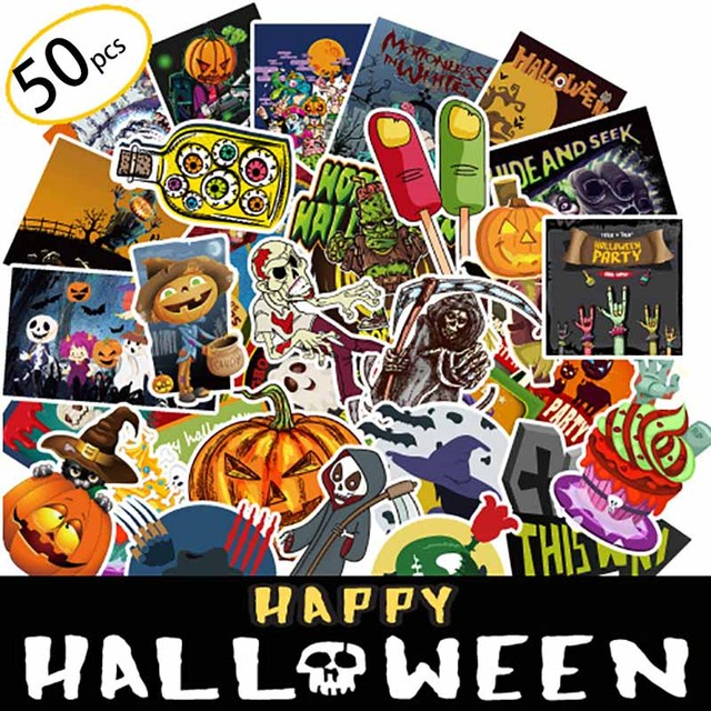 50 Pcs Ghost Graffiti Stickers For Moto Car Suitcase Cool Laptop