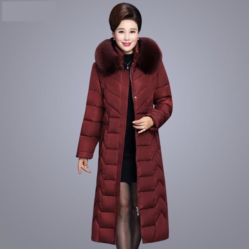 ฤดูหนาว X ยาว Fur สำหรับวัยกลางคนผู้หญิง Parkas Warm หนา Hooded Coat ขนาดใหญ่ลงผ้าฝ้ายหญิงเสื้อกันหนาว 6XL-ใน เสื้อกันลม จาก เสื้อผ้าสตรี บน   3