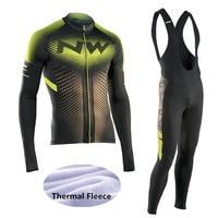 2017 NW Winter Thermal Fleece Cycling Jersey Long Sleeve Jerseys Cycling Bib Tigths Bike Set Bicycle