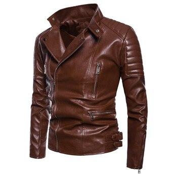 2019 Autumn new Men's Leather Locomotive Lapel High-end Leather Oversized 4XL 5XL  PU jacket Color Black / Brown