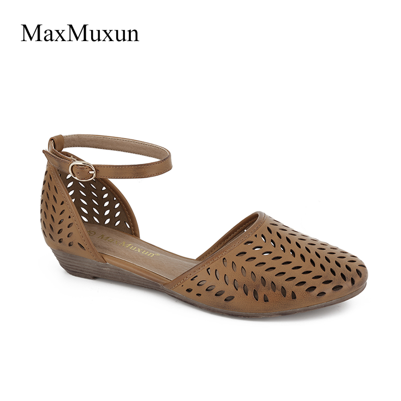 61568d5f1f90 MaxMuXun 2018 Womens Roman Ankle Strap Flat Sandals Summer Cage Closed Toe  Gladiator Sandals Hollow Out Mesh Flats Female Shoes-in Low Heels from  Shoes on ...