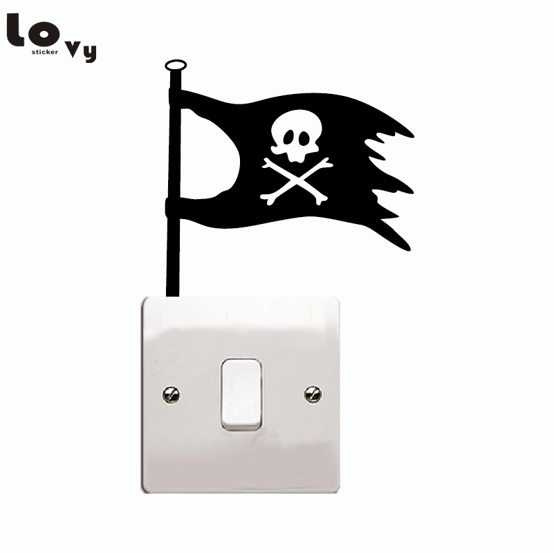 Creative Pirate Flag Switch Sticker Cartoon Flag Vinyl Wall Stickers For Home Decoration