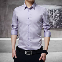 Men Dress Shirts Long Sleeve Cotton 2016 New Korean Fashion Slim Fit Solid High Quality Business