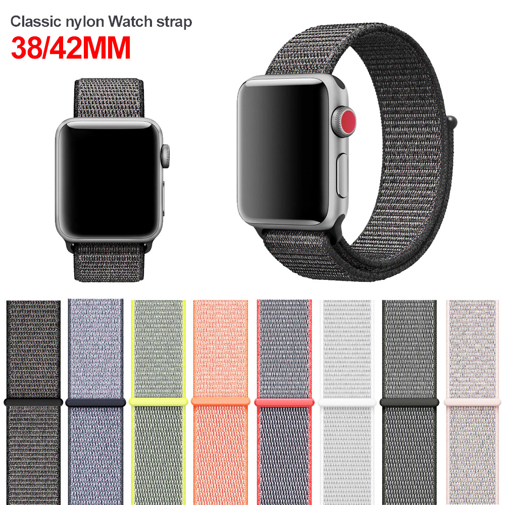 38mm 42mm band for apple watch series 1 2 3 woven nylon band strap for iWatch colorful pattern classic buckle