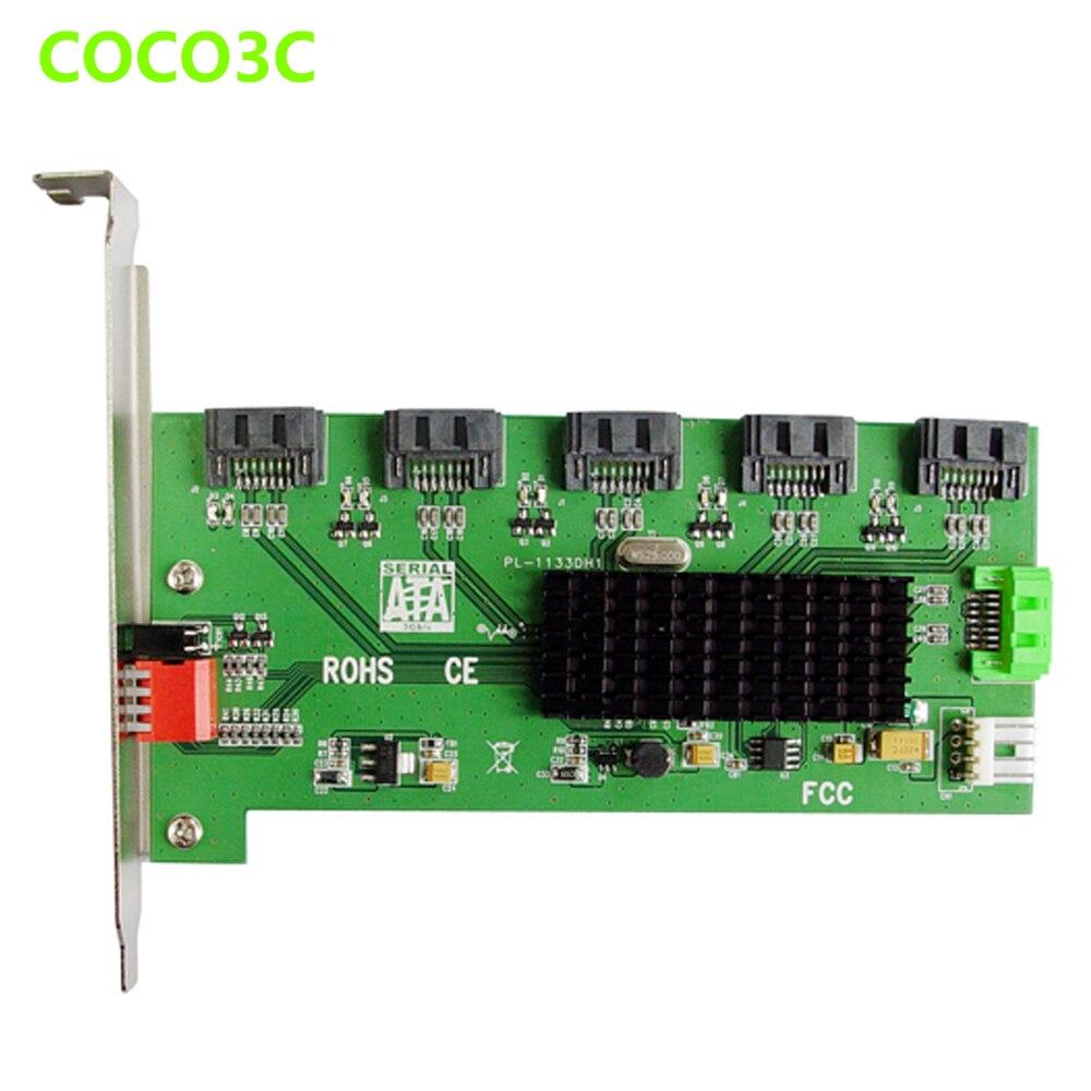 1 à 5 ports SATA 2.0 multiplicateur adaptateur SATA 3 GB PM riser carte avec RAID 0 1 3 5 10 grand CLONE Long profil support - 2