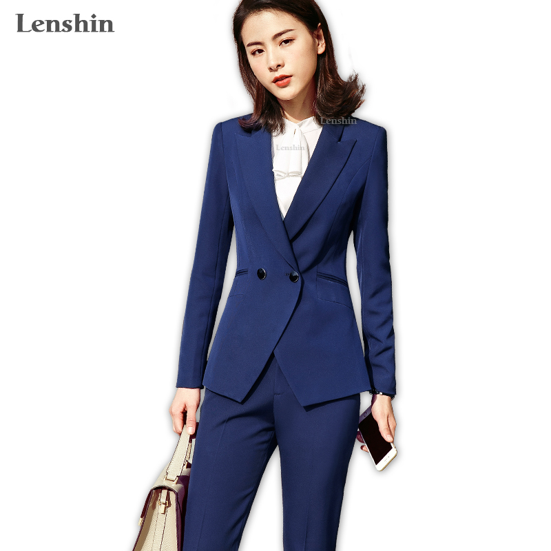 Lenshin 2 Piece Sets Blue Pant Suits Formal Lady Office Uniform Designs Women Elegant Business Work Wear Jacket With Trousers