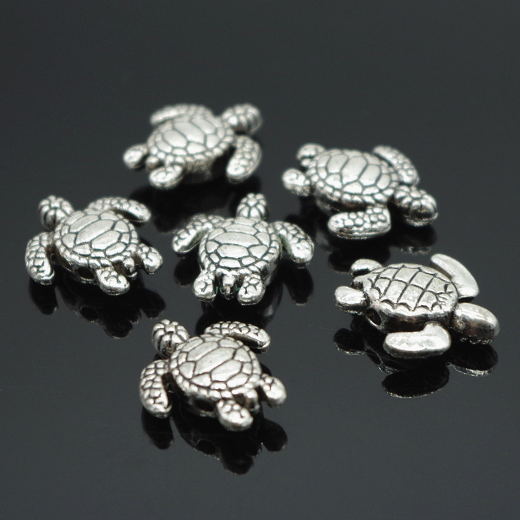 Vintage Silver Alloy Animal 9mm Sea Turtle Spacer Beads Jewelry Makings DIY