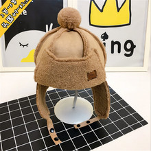 Baby Cap Hat Winter Infant Knitted Baby Hat Anti-cold Warm Bomber Hat With Ear Flaps Suede Lambswool Pompom Ear Cover-