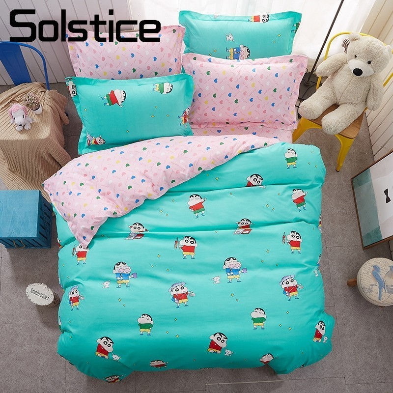 Solstice Home Textile Cartoon Bedding Sets Kid Child Linens Cyan Pink Duvet Cover Pillowcase Flat Bed Sheet King Queen Full Twin