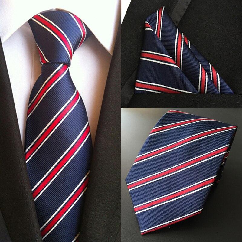 Azul marino y rojo con dibujos hechos a mano 100/% Seda Tie Y Bolsillo Cuadrado Set
