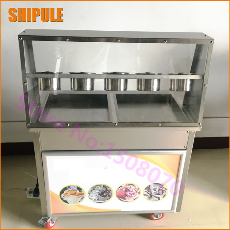 Free Shipping Deep 5cm Commercial Double Flat Pan Fried Ice Cream Machine, Thailand Fry Ice Cream Machine