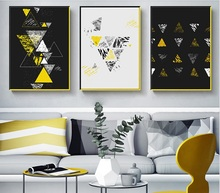 Nordic Abstract Geometric Yellow Print Picture Wall Art Canvas Paintings Decoration for Children Room Unframed