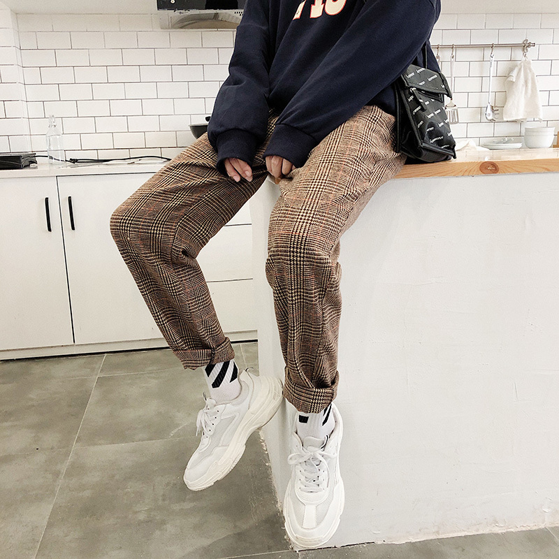 2018 Men's Lattice Printing Waist Elastic Harem Cotton Hip Hop Loose Casual Wollen Pants Fashion Youth In Warm Trousers M-2XL