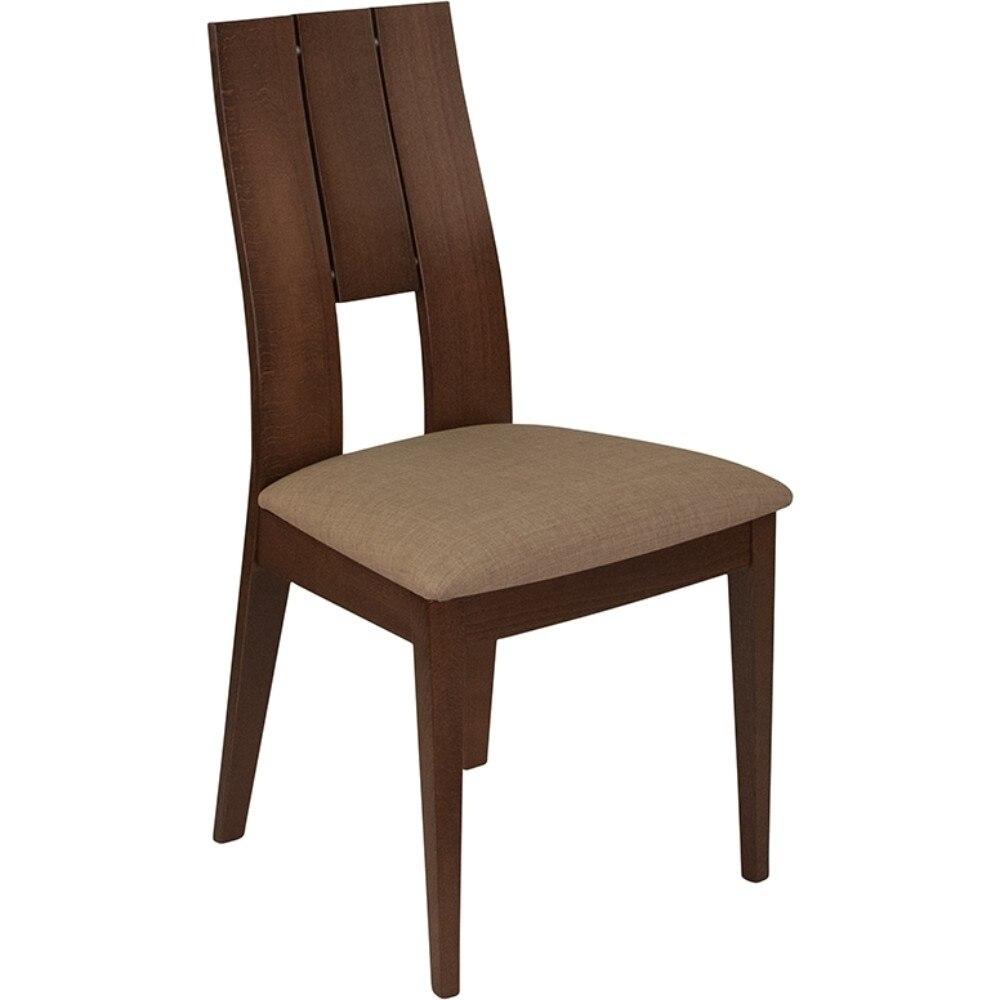 Walnut Slit Open and Keyhole Back Wood Dining Chair dog print keyhole back blouse