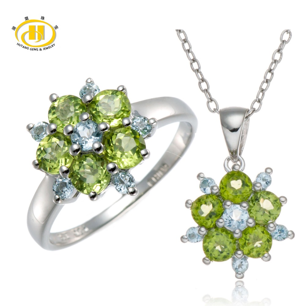 Hutang Stone Jewelry Sets Natural Peridot and Sky Blue Topaz Gemstone 925 Sterling Silver Ring and