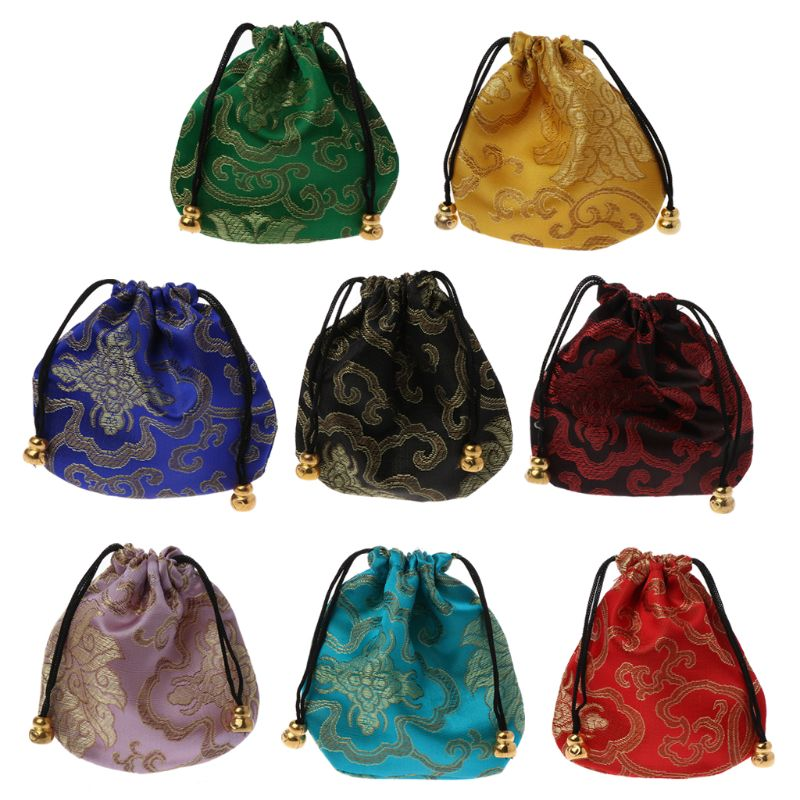 High Quality Silk Travel Pouch Floral Jewelery Bag Packaging Trendy Exquisite Quartet Silk Brocade Tassel Handbags Jewelry Tips