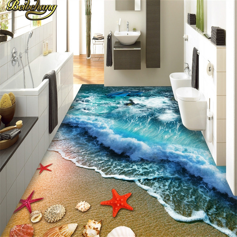 beibehang Custom beach spray papel de parede 3D Photo Wallpaper Kitchen Living Room Bathroom Floor Self-adhesive Mural Wallpaper beibehang custom papel de parede 3d floor wallpaper self adhesive living room bedroom bathroom floor mural photo wall paper roll