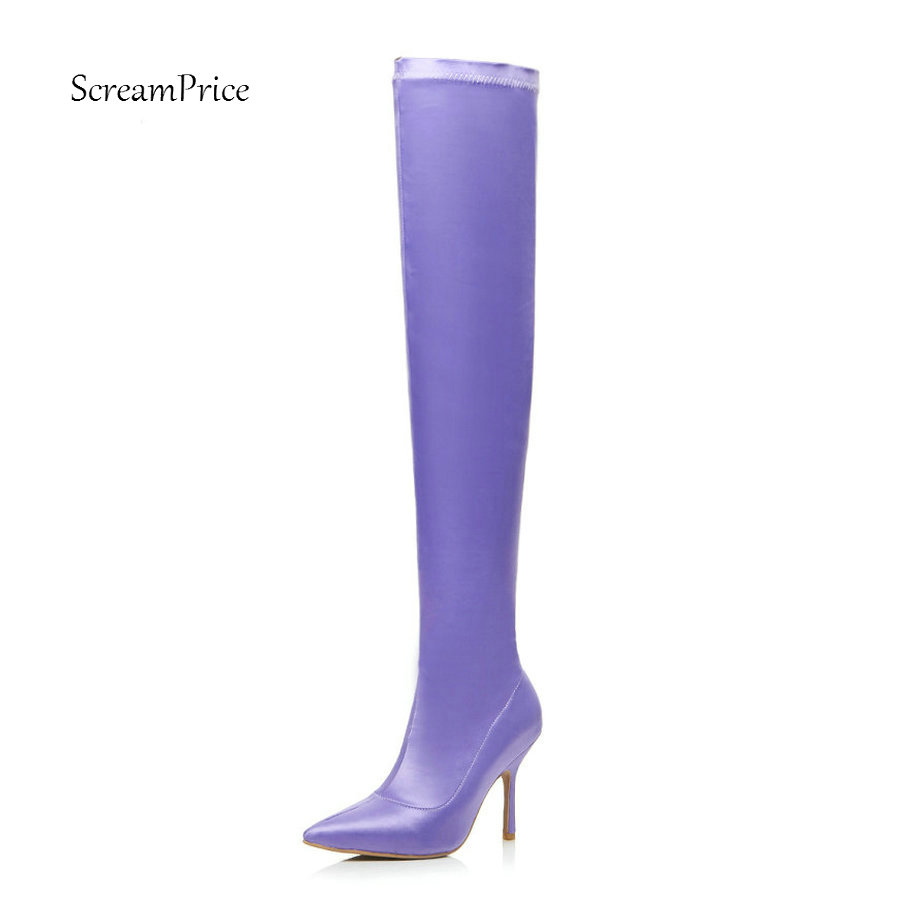Women Elastic Boots Over the Knee Boots Sexy Thin High Heel Pointed Toe Shoes Slip On Fall Winter Fashion Ladies Shoes 2018 New