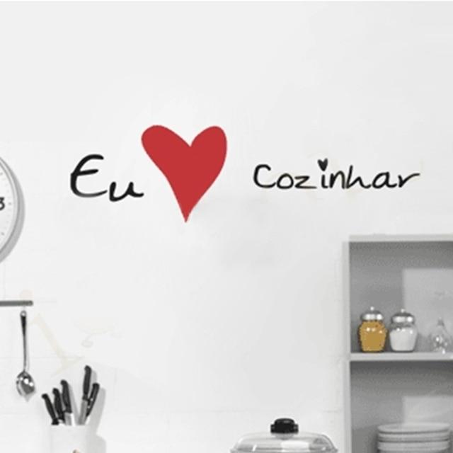 Free shipping modern portuguese wall stickers kitchen decor amo eu cozinhar vinyl waterproof cozinha mural