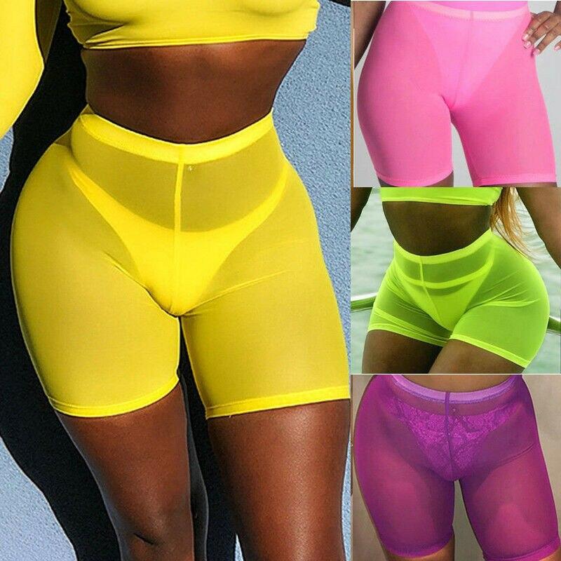 Women See Through Fishnet Shorts Leggings Mesh Summer Hot Ladies Cover Up Beachwear Pants Cycling Bikini Cover Up